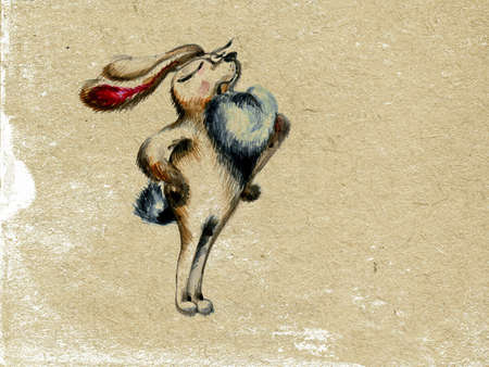 drawing of the rabbit on old paper photo