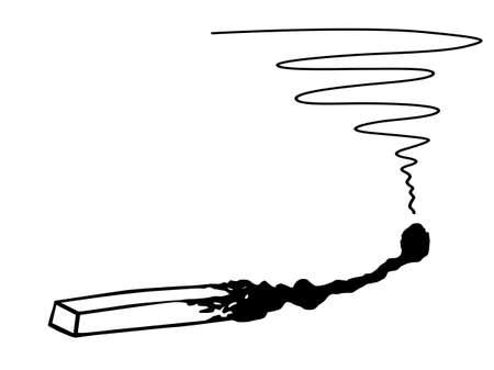 cerillos: silueta del partido burnted sobre fondo blanco