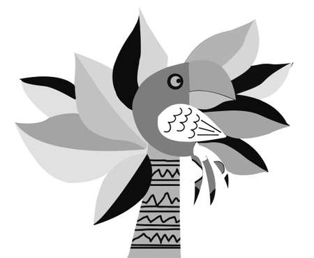 africa outline: drawing of the parrot on palm Illustration