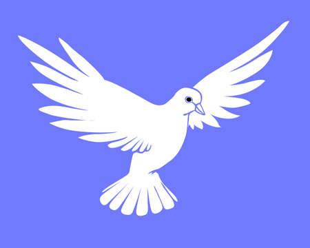 paloma caricatura: silueta de Paloma sobre fondo azul Vectores