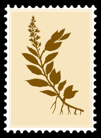 sellos postales sobre fondo negro