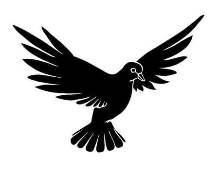 paloma caricatura: silueta de palomas sobre fondo blanco