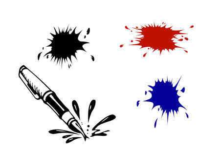 varicoloured inkblots on white background
