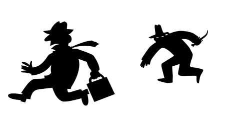 delito: bandido de silueta sobre fondo blanco  Vectores
