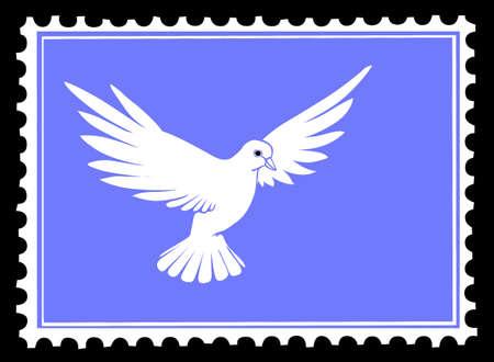 paloma caricatura: dibujo de Paloma en sellos postales Vectores