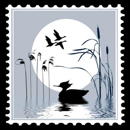 aves de silueta de vector en sellos postales