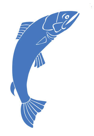 outline fish: silhouette salmon on white background