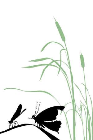 pantanos: insectos de silueta sobre fondo blanco Vectores