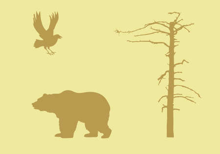 silhouettes animal on yellow background Vector