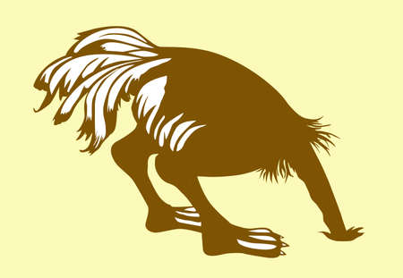 silhouette ostrich on yellow background Vector