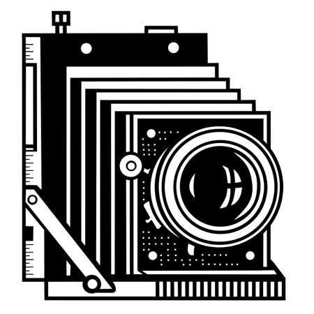 outline drawing: telecamera retro su sfondo bianco