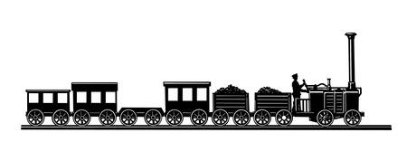 cargo train: old-time train on white background