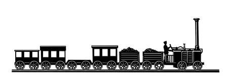 locomotora: viejo tren sobre fondo blanco
