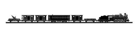 sagoma del vecchio treno su sfondo bianco