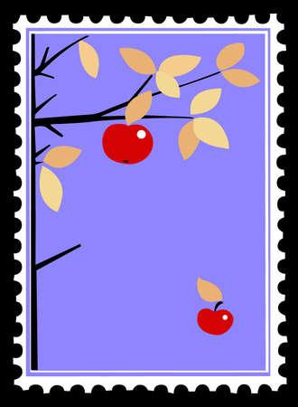 Apple en la rama de sellos postales.