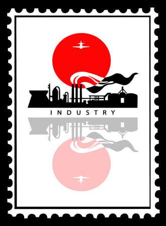 industrial landscape on postage stamps Stock Vector - 8905192