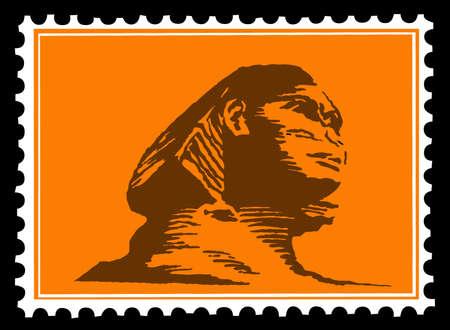 sphinx: sagoma della Sfinge sui francobolli Vettoriali