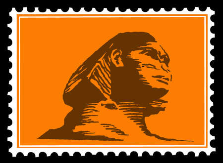 silhouette of the sphinx on postage stamps Stock Vector - 8905194