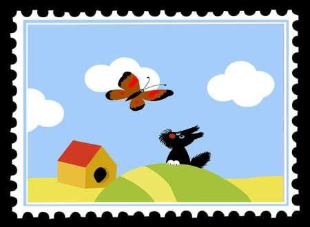 postage stamps on black background Vector