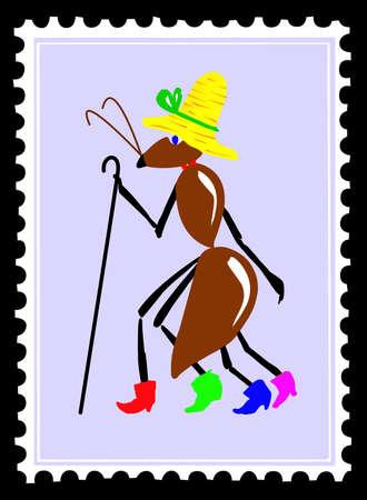 dibujo hormiga en sellos postales