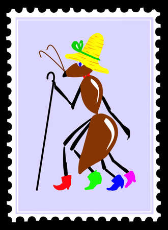 drawing ant on postage stamps Vector