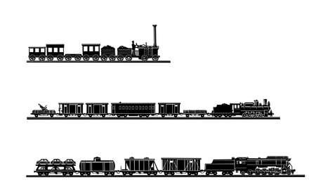 szynach: Wektor ustawić starego pociągu na białym tle Ilustracja