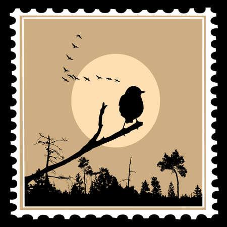 �rboles con pajaros: silueta de vector de las aves en los sellos postales Vectores
