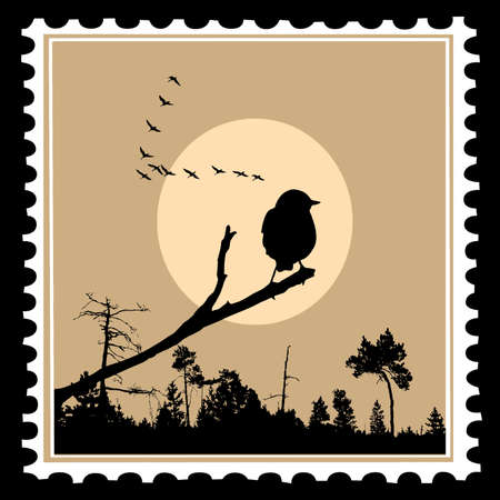 bird tree: vector silhouette of the birds on postage stamps