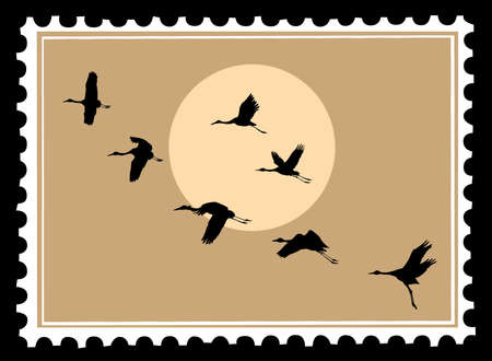 postage stamps: vector silhouette flying cranes on postage stamps