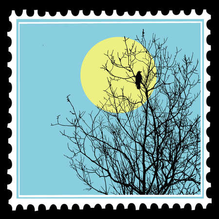 postage stamps: vector silhouette ravens on tree on postage stamps