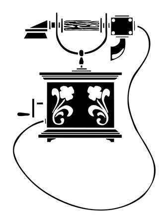 call history: vector silhouette of the old telephone on white background