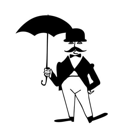 vector silhouette of the gentleman with umbrella on white background Stock Vector - 8922514