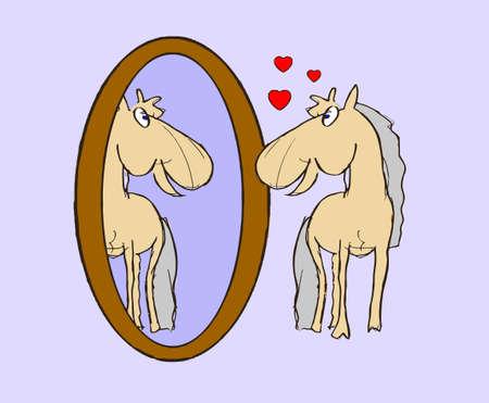foal: illustration foal in mirror
