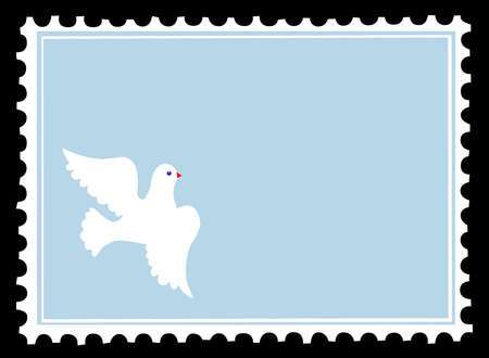 vector silhouette dove on postage stamps Vector