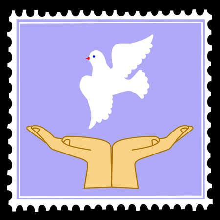 vector silhouette dove on postage stamps Vektoros illusztráció