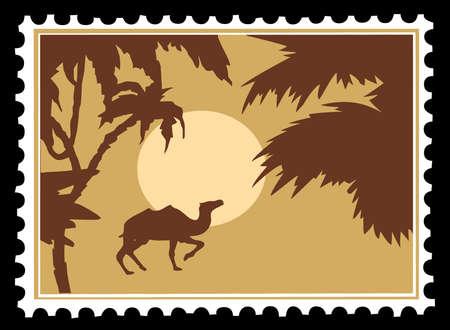 Vector paisaje tropical en sellos postales