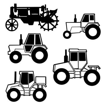 old tractor: vector trekker ingesteld op witte achtergrond