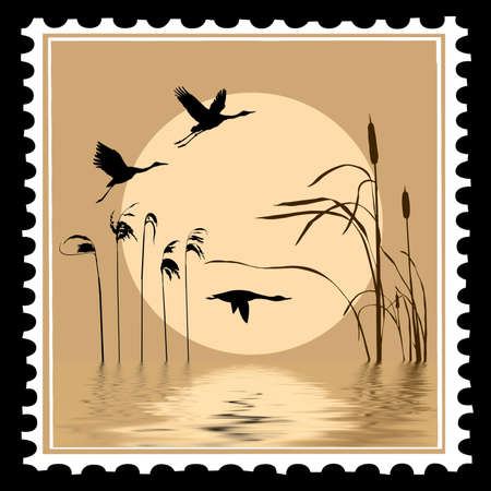 bulrush: vector silhouette flying birds on postage stamps