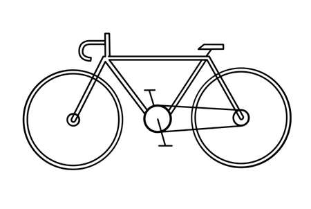 bicycle silhouette: drawing of the bicycle on white background Illustration