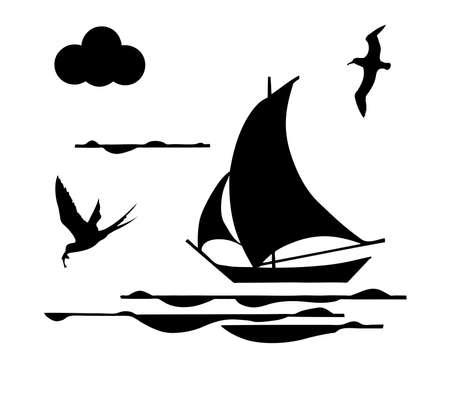silhouette sailfish on white background