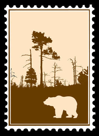 silhouette bear in wood on postage stamps Vector