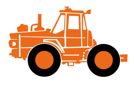 old tractor: orange tractor on a white background Illustration