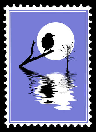 silhouette of the bird on postage stamps