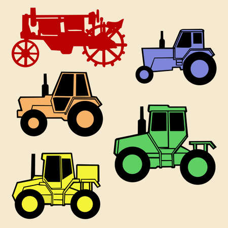 tractor set on white background Vector