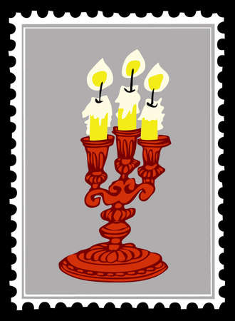 old candlestick on postage stamps Vector