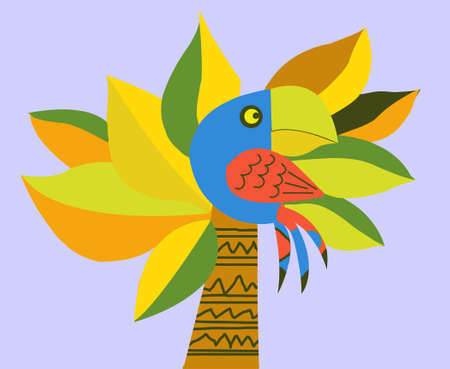 drawing of the parrot on palm Vector