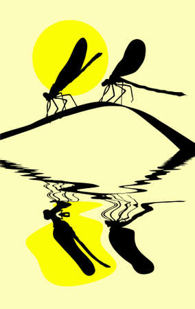 silhouette two dragonflies on herb Vector