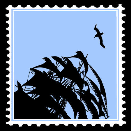 sailfish: silhouette sailfish on postage stamps Illustration