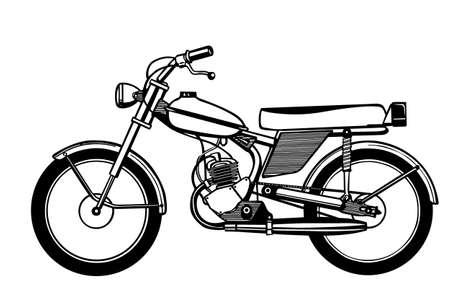 Silhouette ciclomotore su sfondo bianco
