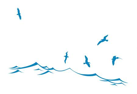 ocean storm: vector silhouette of the sea birds on wave